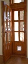 Üveges dupla fa bejárati ajtó csere
